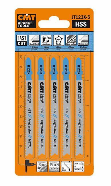 5 JIG SAW BLADES HSS 100x1.2-2.6x21-10TPI(METAL/STRAIGHT/FIN, CMT