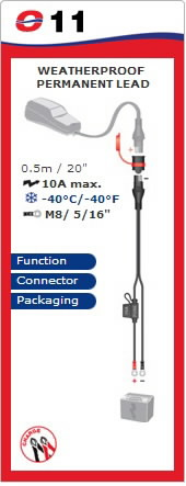 Akule kinnitatav laadimisjuhe, veekindel, M8, 10A max, Tecmate