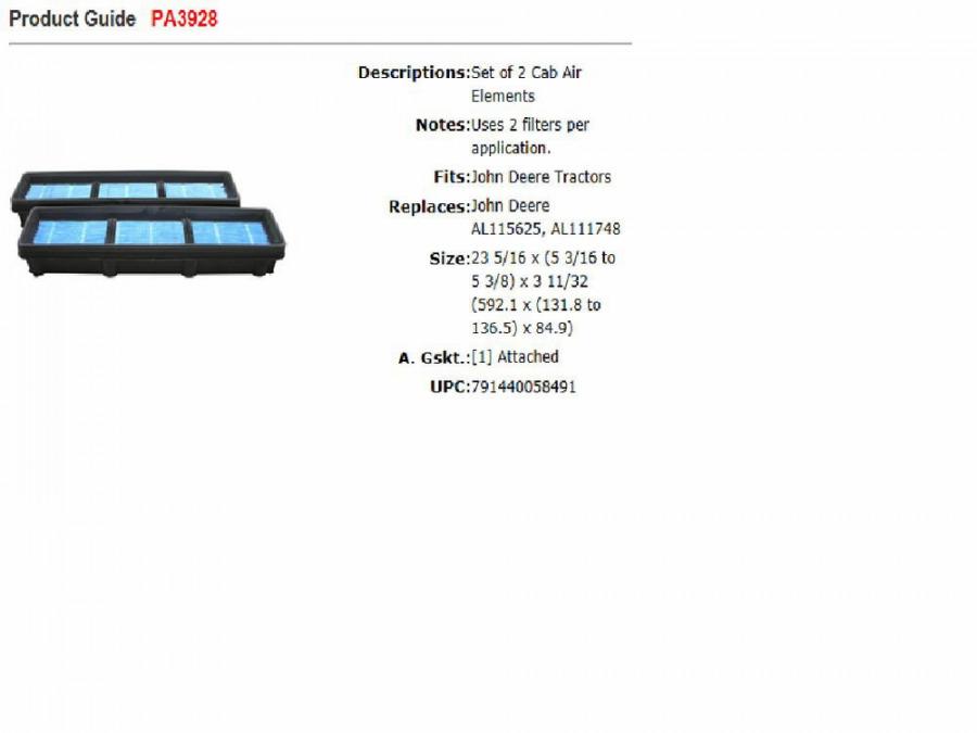 Gaisa filtrs analogs AL177185, Baldwin