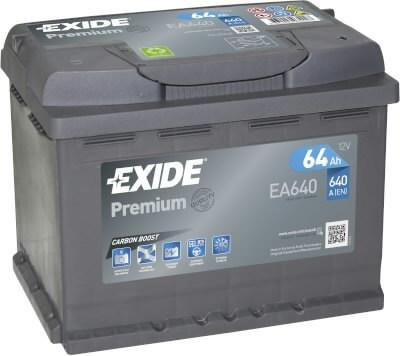 Baterija  PREMIUM 64Ah 640A 242x175x190-+, Exide