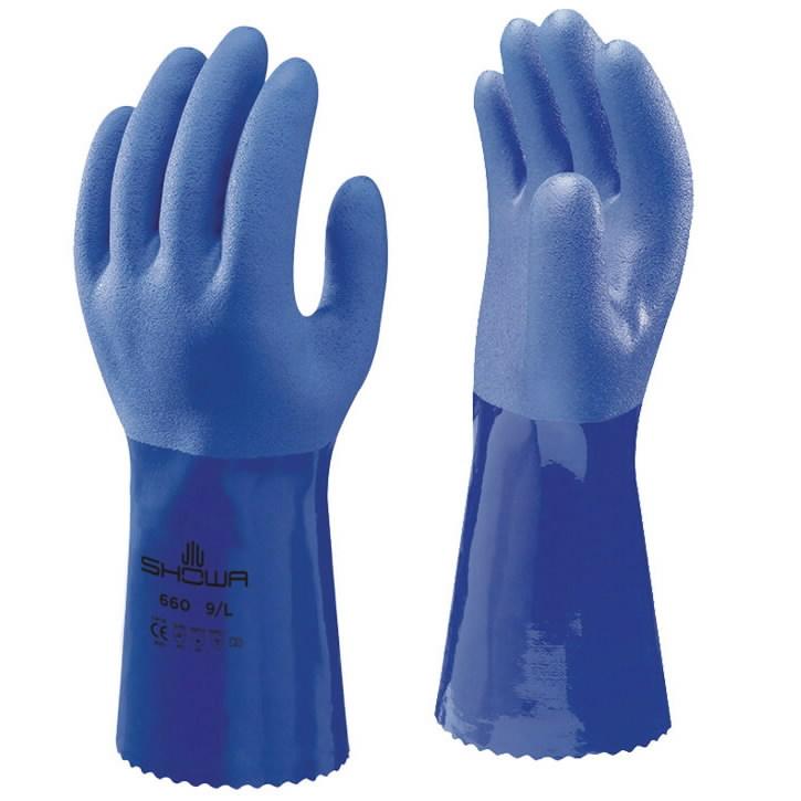 Pirštinės PVC, mėlyna, Showa 660 11/XXL