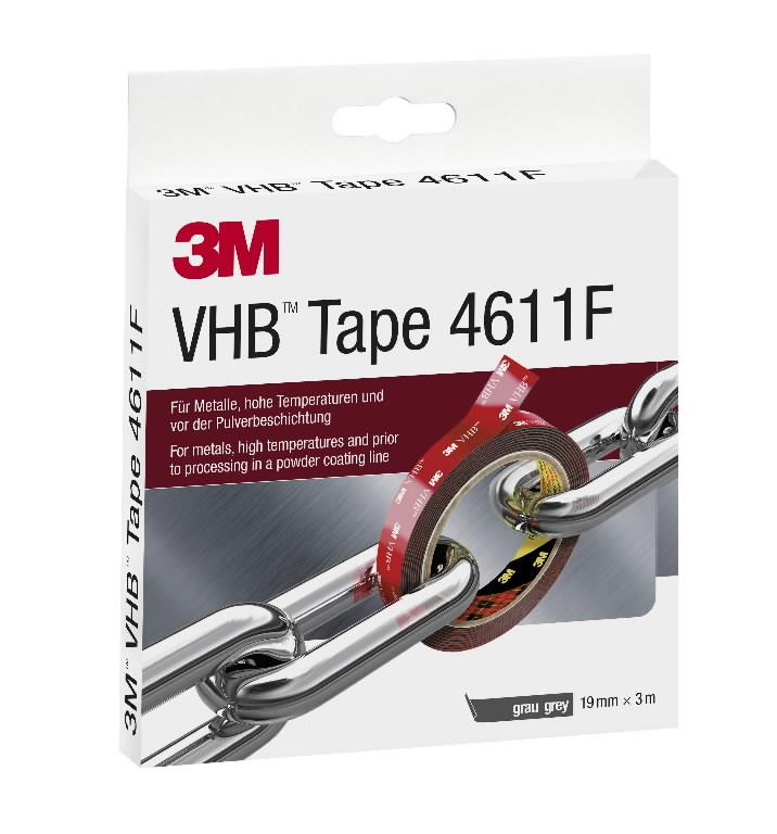VHB 4611F akrilinė dvipusė juosta 19mm x3m juoda, 3M