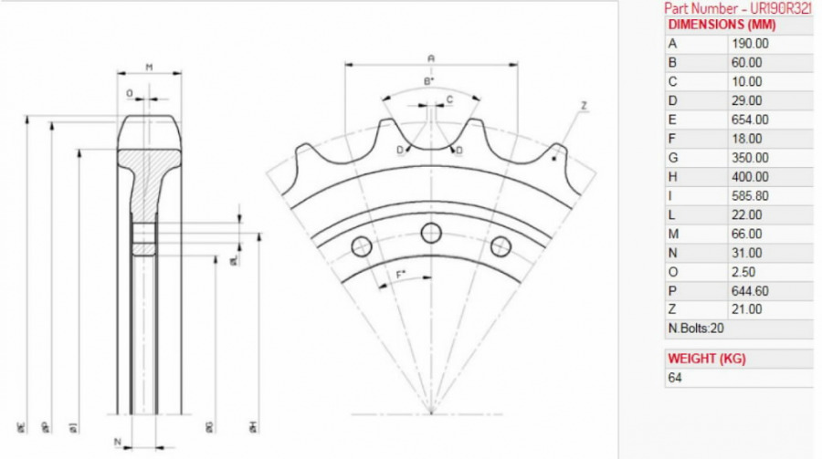 Roomiku veotähik JS200-260 JCB 332/J0022, Aulis Parts