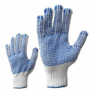 Gloves, woven cotton, blue PVC dots on both sides, Bleached 10