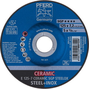 Slīpdisks 125x7,2mm SGP Ceramic STEELOX, Pferd