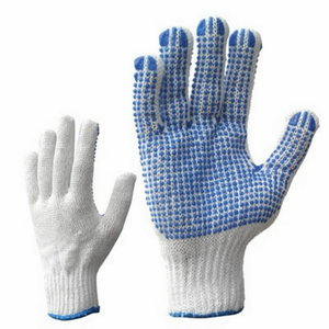 Gloves, cotton, PVC dots on one side,Bleached 10