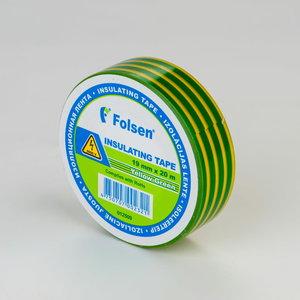 Izoliacinė juosta geltona/žalia 19mmx20m, , Folsen
