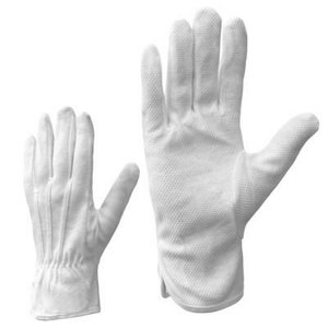 Gloves, white cotton, PVC dots on palm