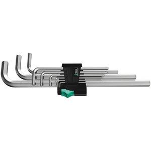 L-образный ключ-шестигранник в комплекте 950L/9SM длинный; 1,5-10мм; из 9 частей; хромированный, WERA