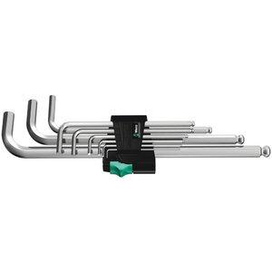 L-образный ключ-шестигранник в комплекте 950PKL/9SM длинный; 1,5-10мм; из 9 частей; хром; с шариком, WERA
