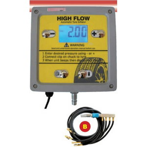 Tyre inflator with digital gauge, 1-4 tyres, max 13 bar, Spin