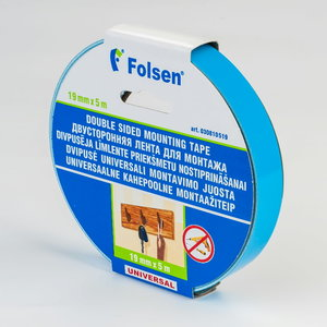 Divpusējā līmlente balts 19mmx5mx1,1mm, Folsen