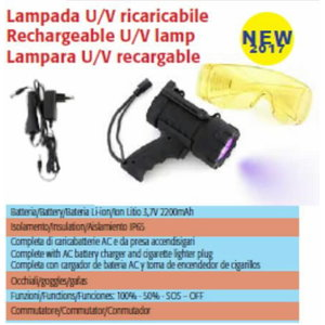 Rechargeable UV lamp with goggles, SPIN