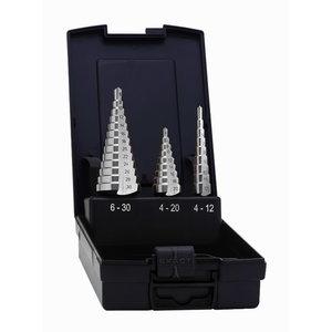 Pakopinių grąžtų komplektas 4-12mm / 4-20mm / 6-30mm  3vnt., Exact