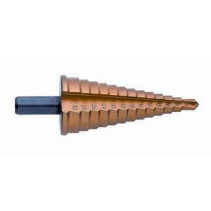Koniskais pakāpjurbis 6-30mm HSS-TiN, Exact