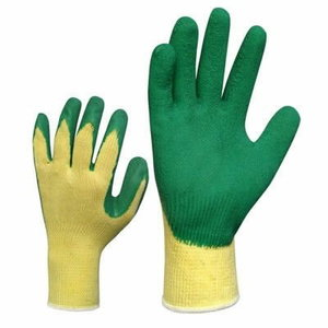 Gloves, green woven with structurizes latex, 10
