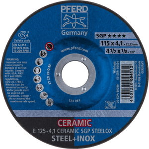 Šlifavimo diskas SGP Ceramic STEELOX 125x4,1mm, Pferd