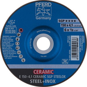 Grinding WHEEL 150x4,1mm Ceramic Steelox, Pferd