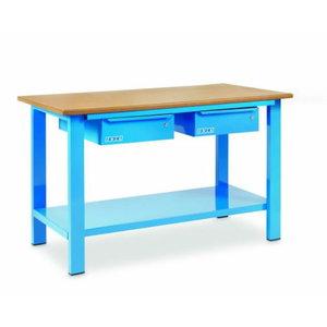 Workbench 1500x700xH880mm, 2 drawers - wood board, OMCN