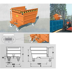 Steel tipping container TS 750, 755L, Cemo