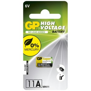 Battery 11A, 6V, High Voltage Alkaline, 1 pcs., GP
