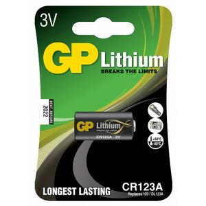 Baterijos CR123A, 3V, Lithium, 1 vnt., Gp