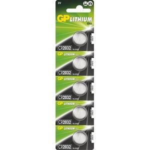 Patarei CR2032, 3V, Liitium, 5 tk., GP