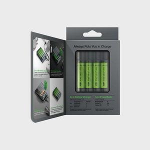 Charger/PowerBank GPX411+4 pcs AA 2600 mAh NiMH battery, GP