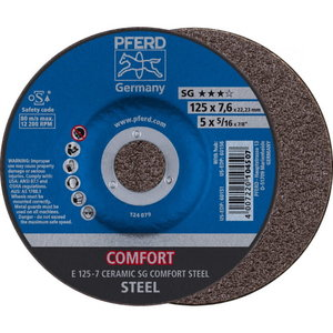 Grinding wheel 125x7mm CERAMIC SG COMFORT STEEL E, Pferd