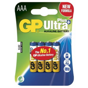 Battery AAA/LR03, 1.5V, Ultra Plus Alkaline, 4 pcs., GP