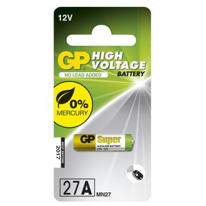 Patarei 27A/MN27, 12V, High Voltage Alkaline, 1 tk., GP