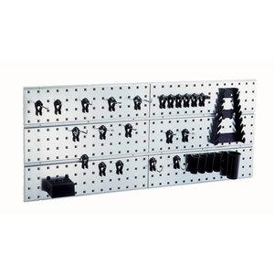 2 perforuotos panelės su 28 kablių asortimentu 440x1040x11, Raaco