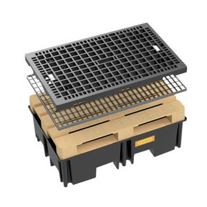 PE pallet sumps 120 x 80, 220 l with steel grating, Cemo
