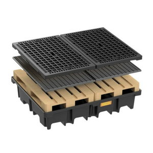 PE pallet sump for 2pc 120 x 80cm, 425 l, with steel grating, Cemo