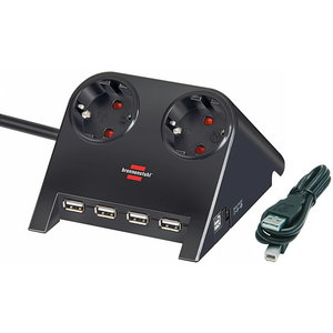 Desktop-Power-Plus with USB-2.0-Hub 2-way socket, Brennenstuhl
