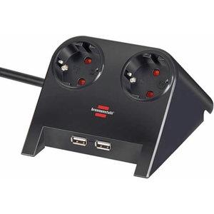 Desktop-Power-Plus with USB-2.0-Hub 2-way socket, Brennenstuhl