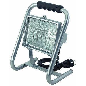 прожектор 500W H IP44  со стойкой, серебристый, 1,5м кабеля, BRENNENS