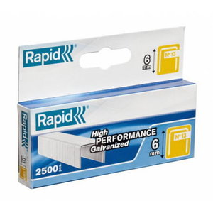 Klambrid 13/6 2500tk 10,6x0,7mm, kollane, pappkarbis, Rapid