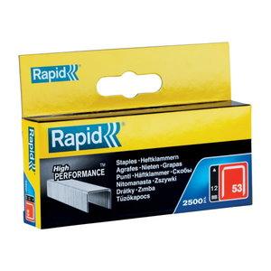 Klambrid 53/12 2500tk 11,4x0,75mm, punane, pappkarbis, Rapid
