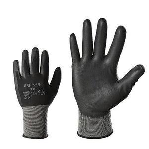 Pirštinės, nailonas, PU delnas, juodos 8