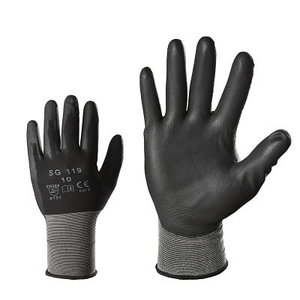 Pirštinės, nailonas, PU delnas, juodos 9
