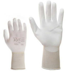 Gloves, nylon with PU on palm and fingers