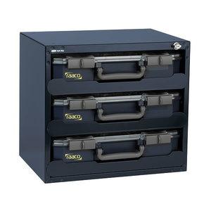 Lukustatav riiul koos 3 x carrylite CL80 5x10-15 kastiga