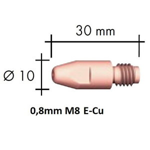 Contact tip E-Cu M8x30x10 - 0,8mm, Binzel