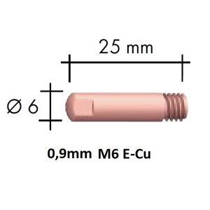 Kontaktsuudmik E-Cu M6x25x6 - 0,9mm, Binzel
