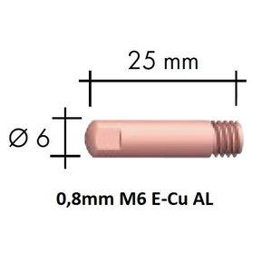 Kontaktsuudmik E-Cu Al M6x25x6 - 0,8mm, Binzel