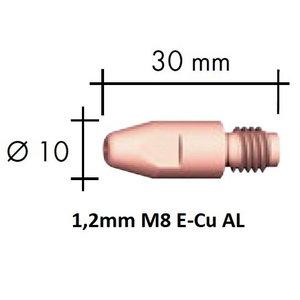 Kontaktinis antgalis E-Cu Al M8x30x10mm 1,2mm, Binzel