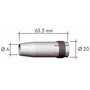 сильно конусообразная газовая форсунка для MB24 10мм, BINZEL