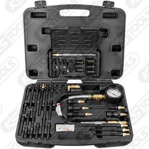 Compression test set for diesel engines, 0-70 bar, 36pc, KS Tools