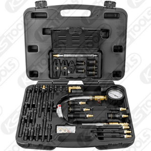 Compression test set for diesel engines, 0-70 bar, 36pc, KS Tools